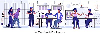 policewoman holding arrested prisoner officers team working at police department security authority justice law service concept prison office room with jail bars sketch full length horizontal