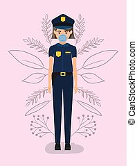 Policewoman with mask against 2019 ncov virus vector design