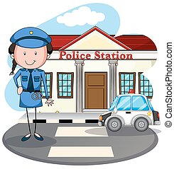 Policewoman working at police station