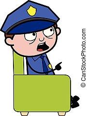 policial, apontar, policial, -, ilustração, falando, enquanto, vetorial, dedo, retro