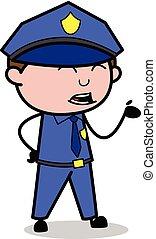 policial, apontar, policial, -, ilustração, falando, vetorial, retro