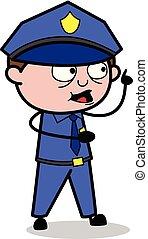 policial, apontar, policial, -, ilustração, vetorial, dedo, retro