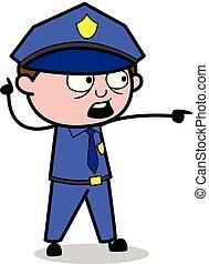 policial, apontar, policial, -, ilustração, vetorial, retro, gesto