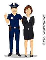 policial, businesswoman., isolado, prendendo, fundo, branca, criminal, colarinho