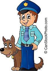 policial, com, cão protetor, imagem, 1