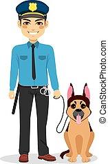 policial, com, cão