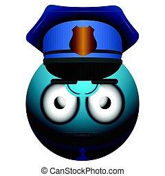 policial, emote, isolado