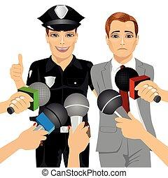 policial, entrevistar, colarinho, prendendo, enquanto, jornalista, corrupto, homem negócios, branca, ele