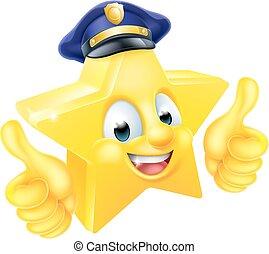 policial, estrela, mascote