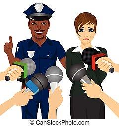 policial, executiva, entrevistar, colarinho, prendendo, enquanto, jornalista, corrupto, branca, ele