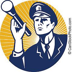 policial, guarda de segurança, com, lanterna, retro