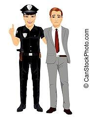 policial, isolado, prendendo, businessman., fundo, branca, criminal, colarinho