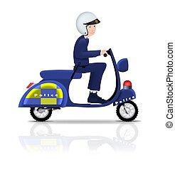 policial, ligado, scooter