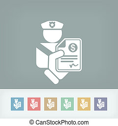 policial, multa, ícone