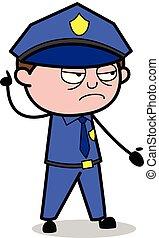 policial, policial, -, ilustração, vetorial, retro, ...