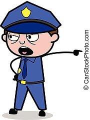 policial, policial, mostrando, gritar, -, ilustração, ...