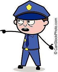 policial, policial, mostrando, -, ilustração, vetorial, ...