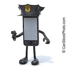 policial, smartphone, polícia, braços, arma, pernas, mão