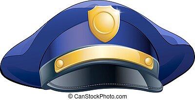 policier, chapeau, icône