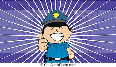 policier, dessin animé, background1, gosse