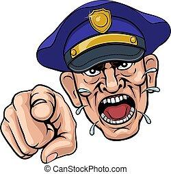 policier, fâché, dessin animé, officier, police