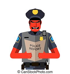 policier, fâché, shouts., illustration, vecteur, rouges, dreaded, uniform., homme