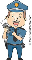 policier, illustration, appel téléphonique, 911, homme