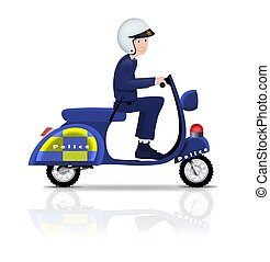 policier, sur, scooter