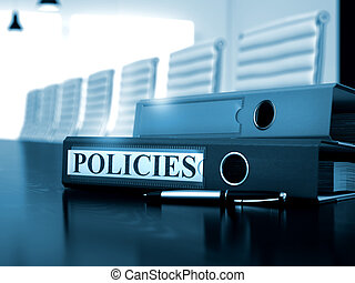 Policies. Business Concept on Blurred Background. Policies - Office Binder on Wooden Desk. Policies - Concept. 3D.