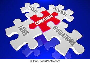 policies, quebra-cabeça, conformidade, ilustração, regulamentos, palavras, leis, 3d