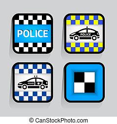 policja, -, komplet, majchry, skwer, na, przedimek określony przed rzeczownikami, szare tło