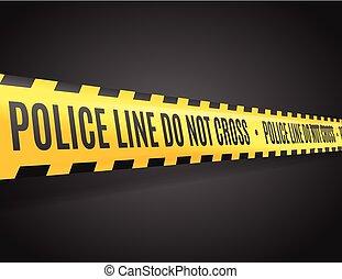 policja, kreska, z, tekst, nie, cross., wektor