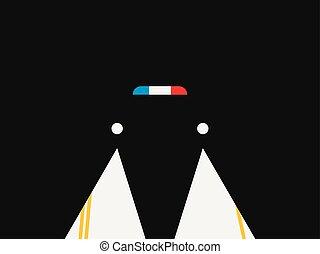 policja, noir., ilustracja, światła, wektor, wóz., retro, noc, syrena, styl