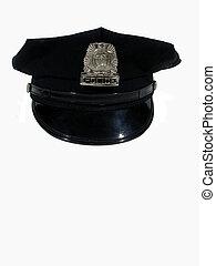 policja, prosty, kapelusz