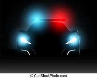 policja, wektor, wóz., illustration.