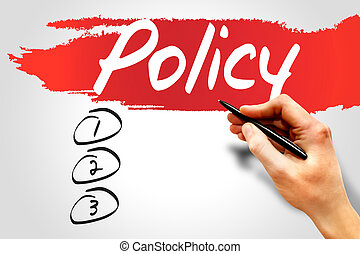 POLICY blank list, business concept