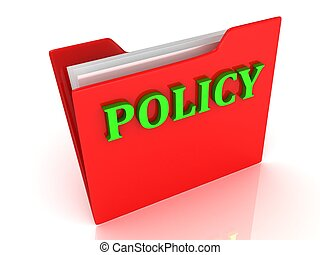POLICY bright green letters on a red folder on white...