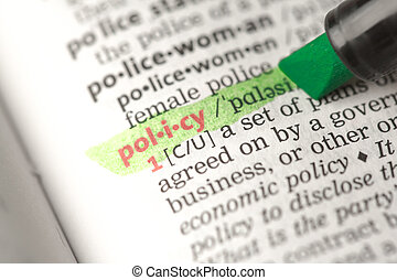 Policy definition highlighted in green