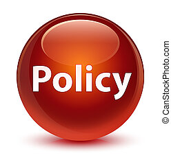 Policy glassy brown round button