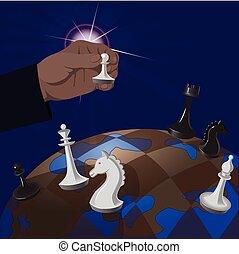 policy:, globaal, illustratie, spel, chess., politiek