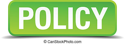 Policy green 3d realistic square isolated button