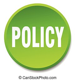 policy green round flat isolated push button