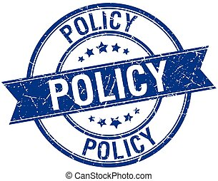 policy grunge retro blue isolated ribbon stamp