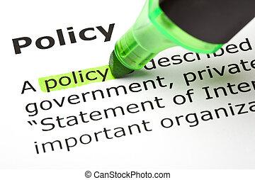 'policy', hervorgehoben, in, grün