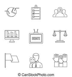 Policy icons set, outline style - Policy icons set. Outline...