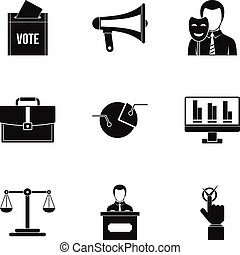 Policy icons set, simple style - Policy icons set. Simple...