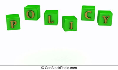 POLICY inscription gold letters on the green cubes in the...