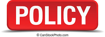 Policy red 3d square button isolated on white