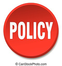 policy red round flat isolated push button