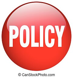policy red round gel isolated push button